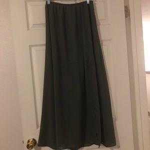 Lily White Maxi Skirt. Thigh High Slit.